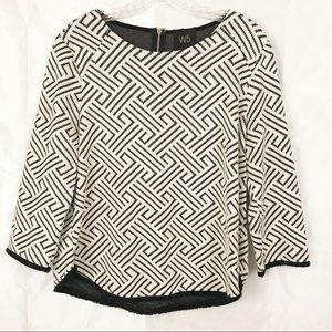 Anthropologie W5 Geometric Knit Fringe Pullover